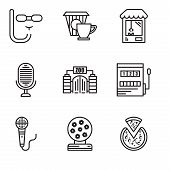 Set Of 9 Simple Editable Icons Such As Pizza, Magic Ball, Microphone, Gaming, Zoo, Microphone, Machi poster