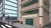 image of building exterior  - scene in a big city some buildings and street - JPG