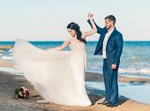 Wedding Couple. Beautiful Bride And Groom Dancing. Just Merried. Close Up. Happy Bride And Groom On  poster