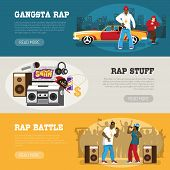 Rap Music 3 Flat Horizontal Banners Webpage Design With Freestyle Singers Battle And Retro Accessori poster