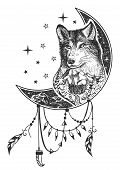 Vector Boho Wolf Tattoo Or T-shirt Print Design. Wolf Head On Crescent Moon Combined With Nature And poster