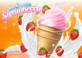 Ice Cream Strawberry Cone Dessert Vector Realistic Illustration. Dairy Product With Fresh And Ripe S poster