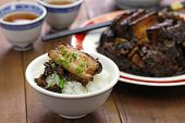 steamed pork belly with preserved mustard greens, Hakka chinese cuisine poster