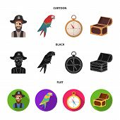 Pirate, Bandit, Hat, Bandage .pirates Set Collection Icons In Cartoon, Black, Flat Style Vector Symb poster