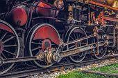 Old Vintage Steam Locomotive, Close Up View poster