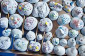 Meringues With Colorful Sprinkles. Birthday Party Celebration With Sweet Dessert. Dessert Of Blue Co poster