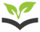 Flora Knowledge Halftone Vector Pictogram. Illustration Style Is Dotted Iconic Flora Knowledge Icon  poster