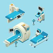 Vector Isometric Medical Diagnostic Equipment Set. 3d Illustration Computer Tomography Ct, Magnetic  poster