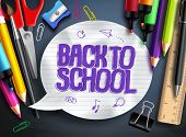 Back To School Vector Banner Design With School Elements, Colorful Education Objects And White Textu poster