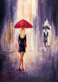 Original Abstract Oil Painting Showing Woman And Man With  Umbrellas Walking On The Street On Canvas poster