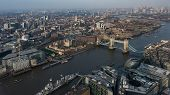 Aerial panoramic cityscape view of London and the River Thames with tower Bridge, Tower of London, C poster