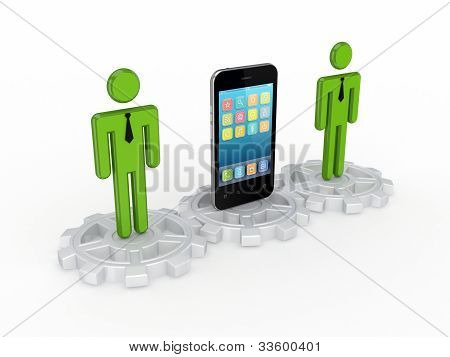 3d small people on a gears and mobile phone.