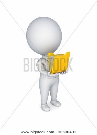 3d small person with a yellow folder in a hands.
