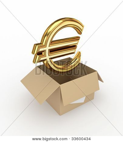 Golden euro sign in a carton box.