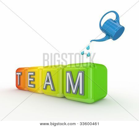 Blue bailer and colorful cubes with a word TEAM.