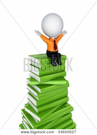 3d small person sitting on a green books.