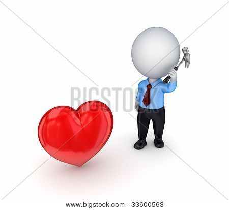 3d small person with a hammer and red heart.