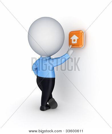 3d small person pushing  button with a house icon.