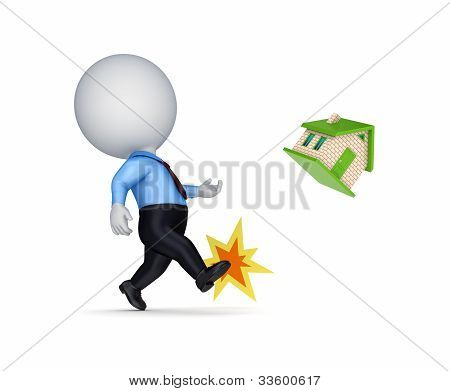 3d person kicking a small house.