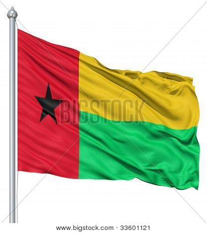 Waving flag of Guinea-Bissau