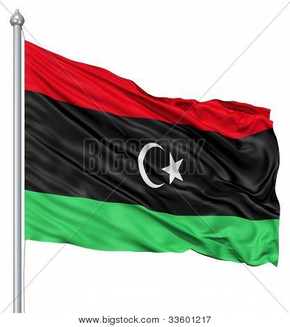 Waving flag of Libya