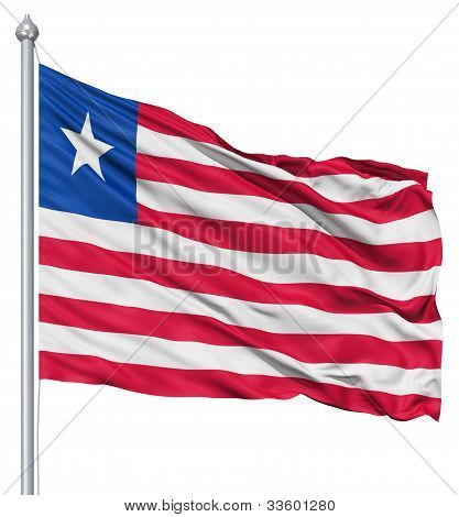 Waving flag of Liberia