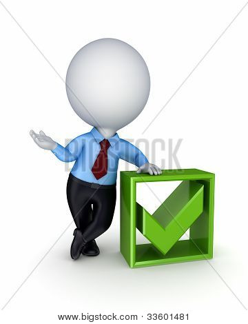 3d small person and green tick mark.