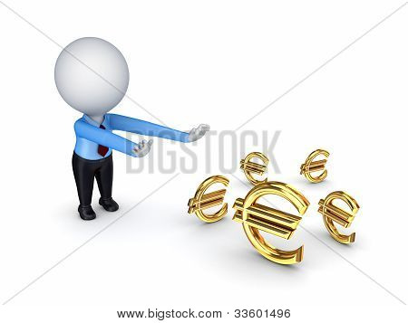 3d small person pulling hands to euro  signs.