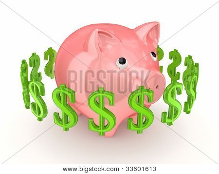 Dollar signs around pink piggy bank.