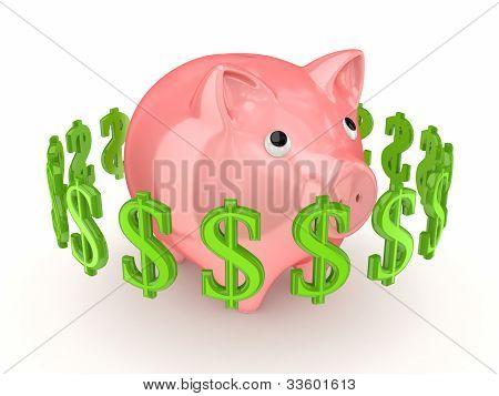 Dollar signs around pink piggy bank.