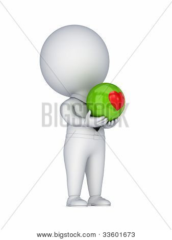 3d small person with a red heart in a hands.