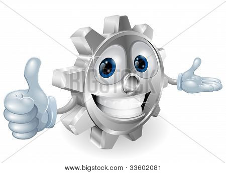 Cog Thumbs Up Mascot Illustration