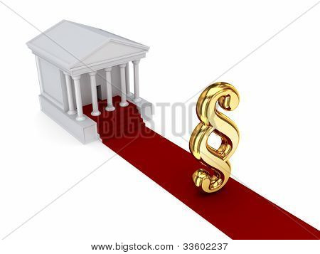 Courthouse, golden paragraph sign and red carpet.