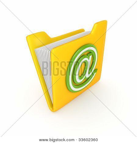 gelber Ordner mit einer grünen at-Symbol.