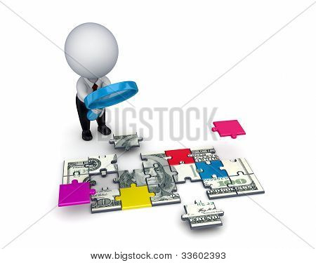 3d person with a loupe and dollar made of puzzles.