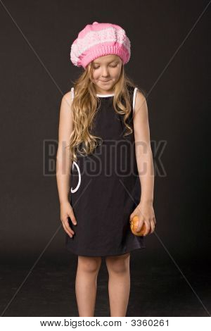 Sly Little Girl With Apple