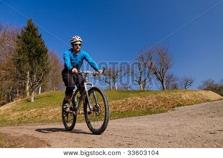 mountainbiker on a sunny day