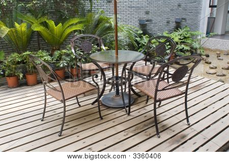 House Patio With  Table And Chairs