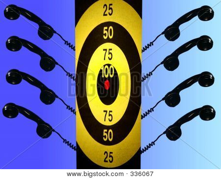 Photo Symbolizing Telemarketers And Targets, Pressured Phone Sal
