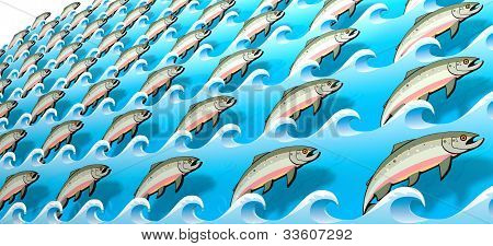 Stylized Salmon Swimming Upstream