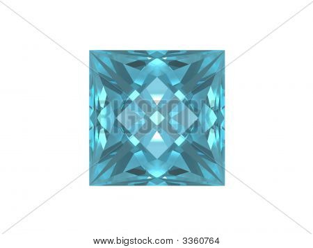 Blue Topaz Isolated On White Background