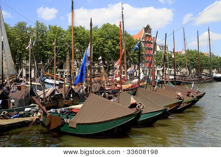 Historic Boats In Wolwevershaven Harbor