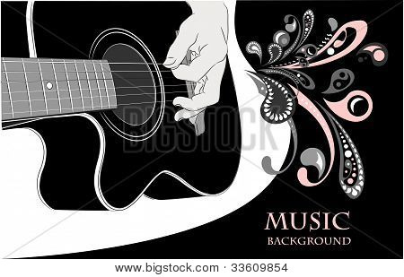 Acoustic guitar playing - vector background