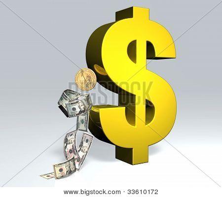 U.s. Dollar Man Is Resting To The U.s. Dollar Symbol