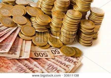 a lot of mexican pesos