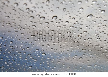 Background: Rain Drops On A Polyethylene Awning