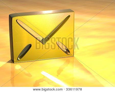 3D Envelope Gold Sign