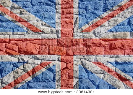 Union Jack on Rock Wall