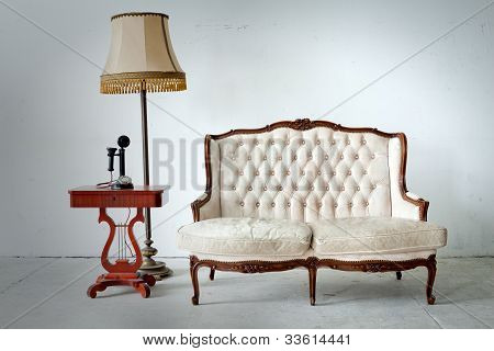 Vintage Bed Sofa In White Room