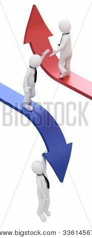 3d businessman, sliding downwards and upwards on an arrows